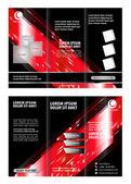 Tri-vouwen technologie stijlsjabloon Brochure lay-out ontwerp — Stockvector