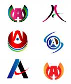 Letter A logo design sample icon set — Stock Vector