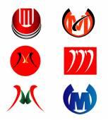 Set of Letter M logo — Stock Vector