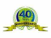 40 year anniversary golden label, 40th anniversary — Stock Vector