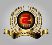Celebrating 2 Years Anniversary - Golden Laurel Wreath Vector — Stock Vector