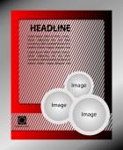 チラシのグレーと赤のベクター デザイン。あなたのビジネスのためのポスター テンプレート — ストックベクタ