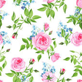 Forget-me-nots and roses seamless vector print — Vettoriale Stock