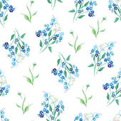 Forget-me-nots watercolor seamless vector print — Stock Vector