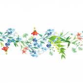 Meadow flowers seamless horizontal vector banner — Stok Vektör