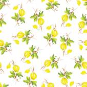 Yellow flowers watercolor seamless vector print — Stockvector