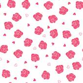 Pink roses and hearts scattering seamless  pattern — Stock Vector