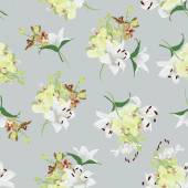 Lilies and orchids grey seamless background — Stock Vector