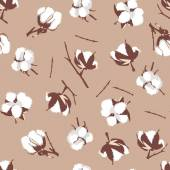 Cotton bolls beige seamless vector pattern, EPS10 file — Stock Vector