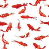 Red koi fishes seamless vector print — Wektor stockowy
