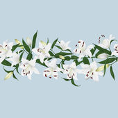 Lilies grey horizontal seamless banner — Stock Vector