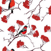 Bullfinches on mountain ash branches seamless pattern — Stock Vector