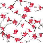 Red cotton tree chinese seamless print — Vetor de Stock