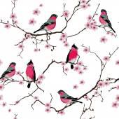 Bullfinches on the sakura branch seamless pattern, EPS10 file — Stock Vector