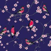 Bullfinches on the sakura branch purple seamless pattern, EPS10 — Stock Vector