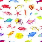 Colorful sea watercolor seamless vector print — Stock Vector