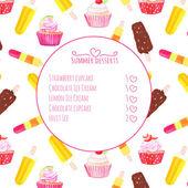 カップケーキとアイスクリーム水彩ベクトル メニュー カード — ストックベクタ