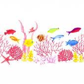 Colorful sea world vector horizontal seamless banner — Stock Vector