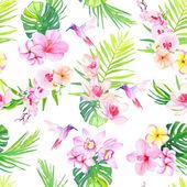 Шаблон бесшовные Векторные цветы и колибри — Cтоковый вектор