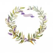 Wreath with lavender for a wedding — Stock Vector