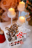 Cones and candles in the New Year composition — Foto Stock