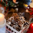New year decoration with cones in white basket with candles — Stock Photo #60993209
