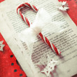 Candy cane with a lacy bow on a torn book page on red background surrounded by paper snowflakes. — Stock Photo #59638429