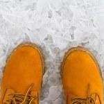 Orange boots on the ice — Stock Photo #60401553