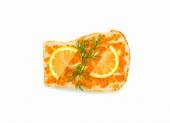 Insulated sandwich with red caviar with lemon and dill — Stock Photo