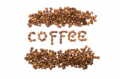 Inscription of coffee from coffee isolated on white background — Stock Photo