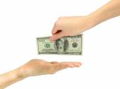 Give money from hand to hand — Stock Photo