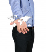 Map of the earth on the hand business man — Stock Photo