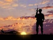 Soldier Silhouette Military helicopter — Stock Photo