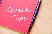 Quick tips text concept note — Stock Photo