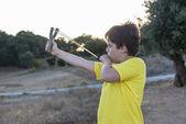 Boy with Slingshot — Stock Photo