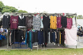 Clothing booth at a flea market — ストック写真