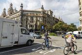 Cyclists in Barcelona — Стоковое фото