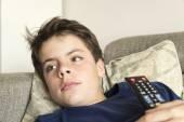Young boy watching TV — Stock Photo