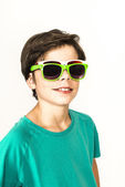 Young boy with two sunglasses — Stock Photo