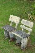 Bench chair in a garden at the park — Stock Photo