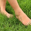 Foot on the green grass in the lawn. — Stock Photo #75332661