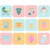 Children flat icons. — Stock Vector