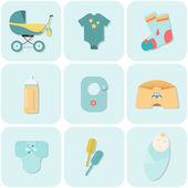 Children flat icons. — Vector de stock