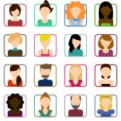 Set of people icons flat. — Stock Vector