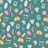 Seamless pattern of baby goods icons — Stock Vector