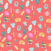 Pattern of baby goods icons. — Stockvektor