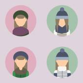 Set of icons with the image of women in flat style — Vector de stock