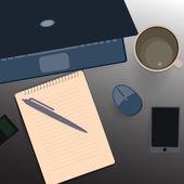 Desktop, business working place — Vettoriale Stock