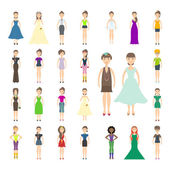Set of various women icons — Stock Vector
