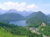 Alpsee with locality of Hohenschwangau — Stock Photo